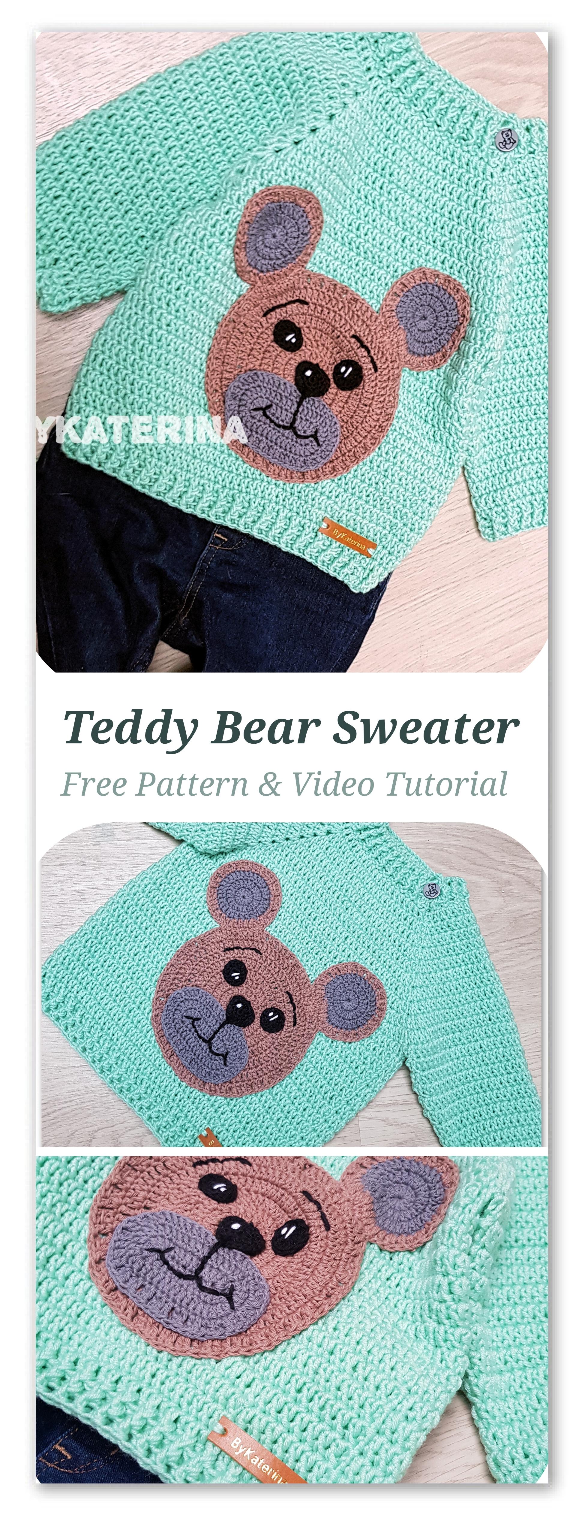 Free Crochet Pattern for an Amigurumi Teddy Bear in a Sweater ... | 5066x1940