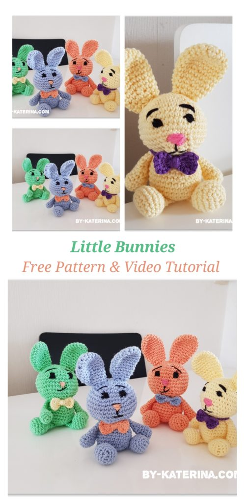 little bunnies. Free crochet pattern and video tutorial