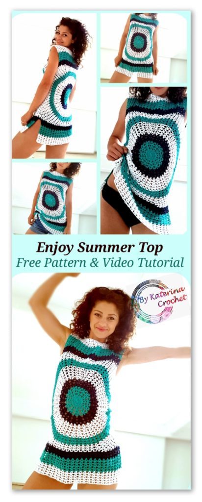 Enjoy Summer Top. Free crochet pattern & Video Tutorial