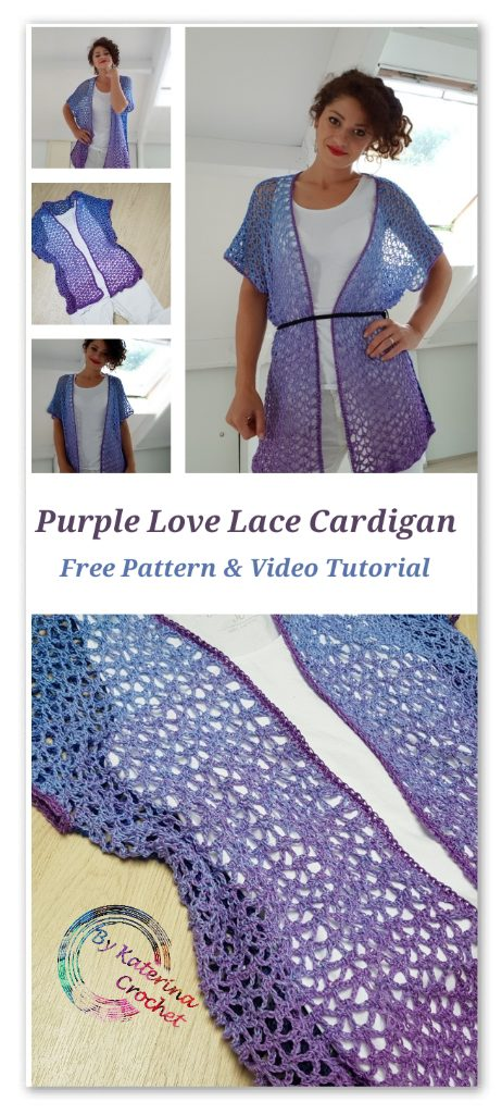 Purple Love Lace Cardigan. Free Pattern & Video Tutorial. Scheepjes Whirl.One Whirl enough for every size from S to XXL