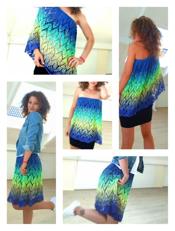 Crocheted Top - skirt. One piece and 3 ways to wear it