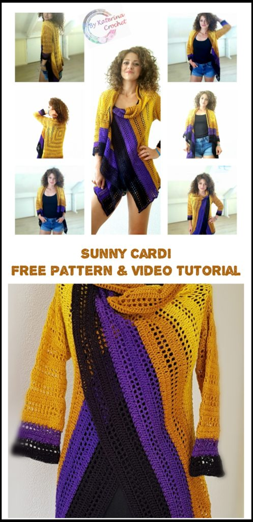 Sunny Cardi. Free pattern with charts and video tutorial