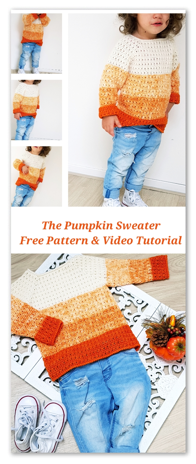 The Pumpkin Sweater. Free pattern with stitch chart, diagram and video tutorial. For sizes from 6 months to 4-5 years