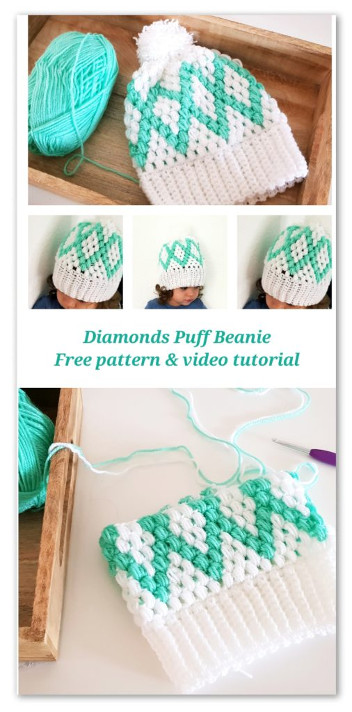 Diamonds Puff Beanie. Free Pattern with chart and video tutorial for sizes from Baby to Adult