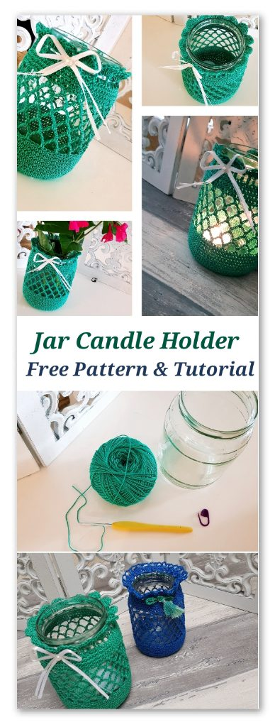 Jar Candle Holder. Free Pattern and tutorial