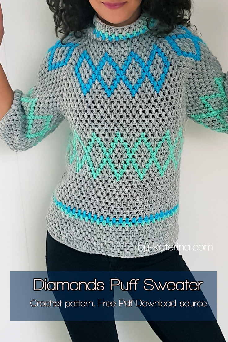 Diamonds Puff Sweater. Free pdf.pattern download source.