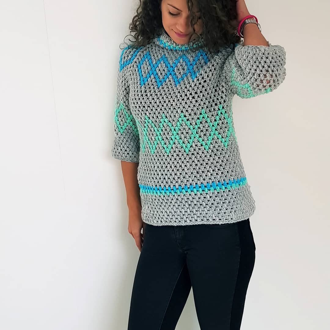 Diamonds Puff Sweater