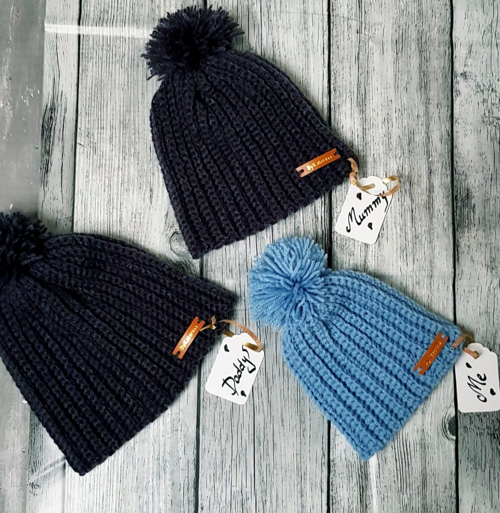 Daddy, Mummy & Me Crocheted Hats