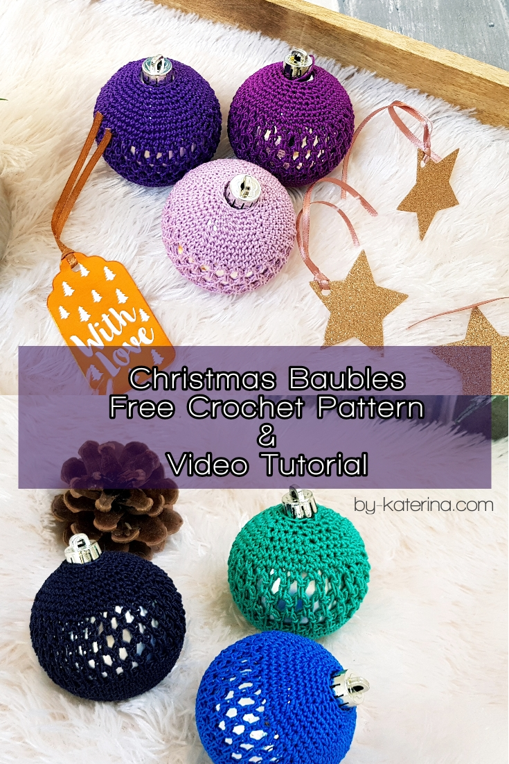 Christmas Baubles. Free pattern for 2 different type of yarn with charts and video tutorial