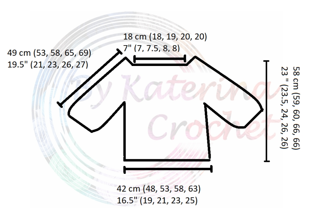 Spring Time Cable Sweater Measurement Diagram
