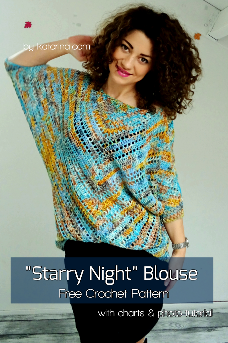 Starry Night Blouse. Free Pattern with stitch chart, diagram & photo tutorial