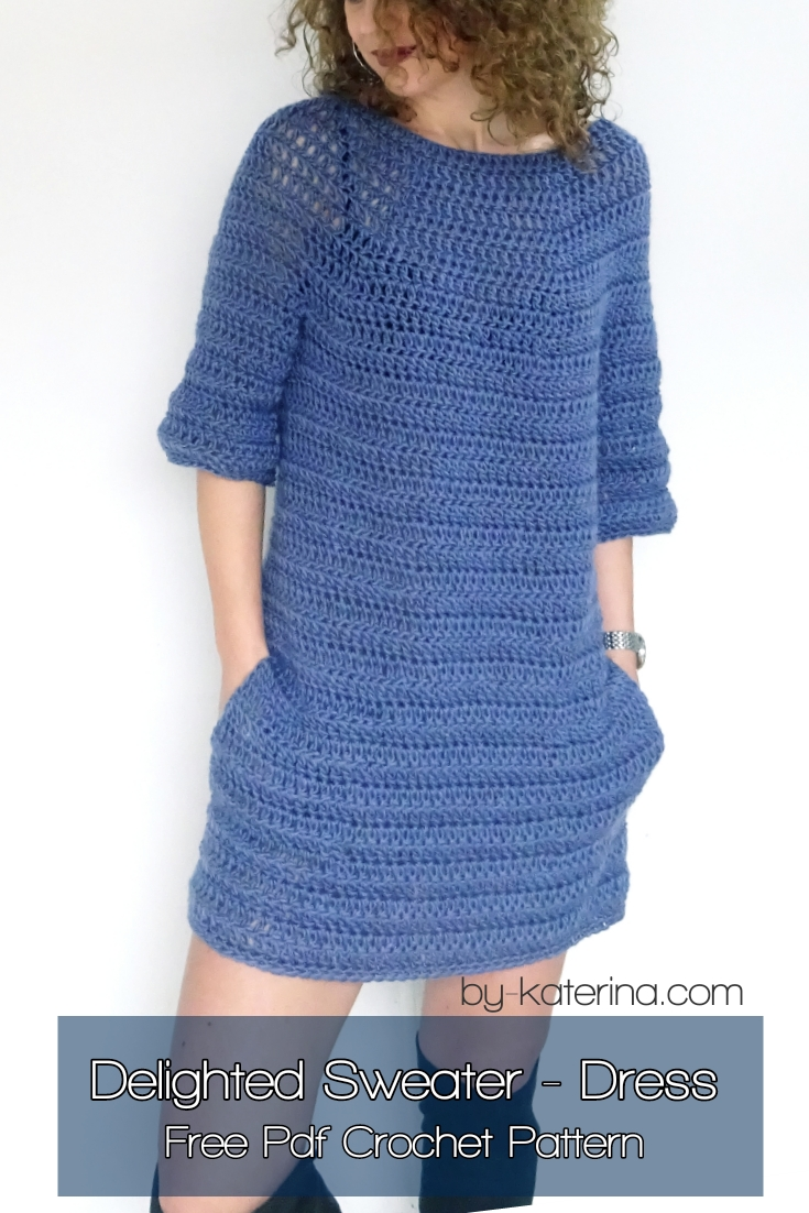 Delighted Sweater - Dress. Free pdf Crochet pattern