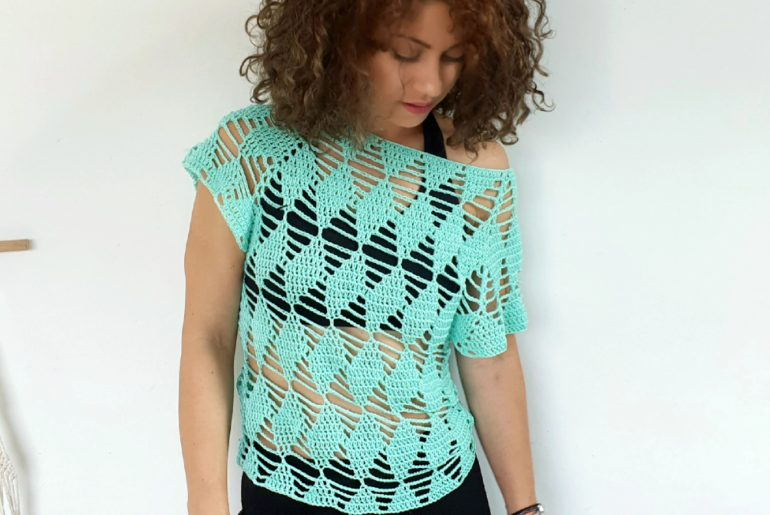 Diamonds Lace Top. Free Pattern & Video Tutorial