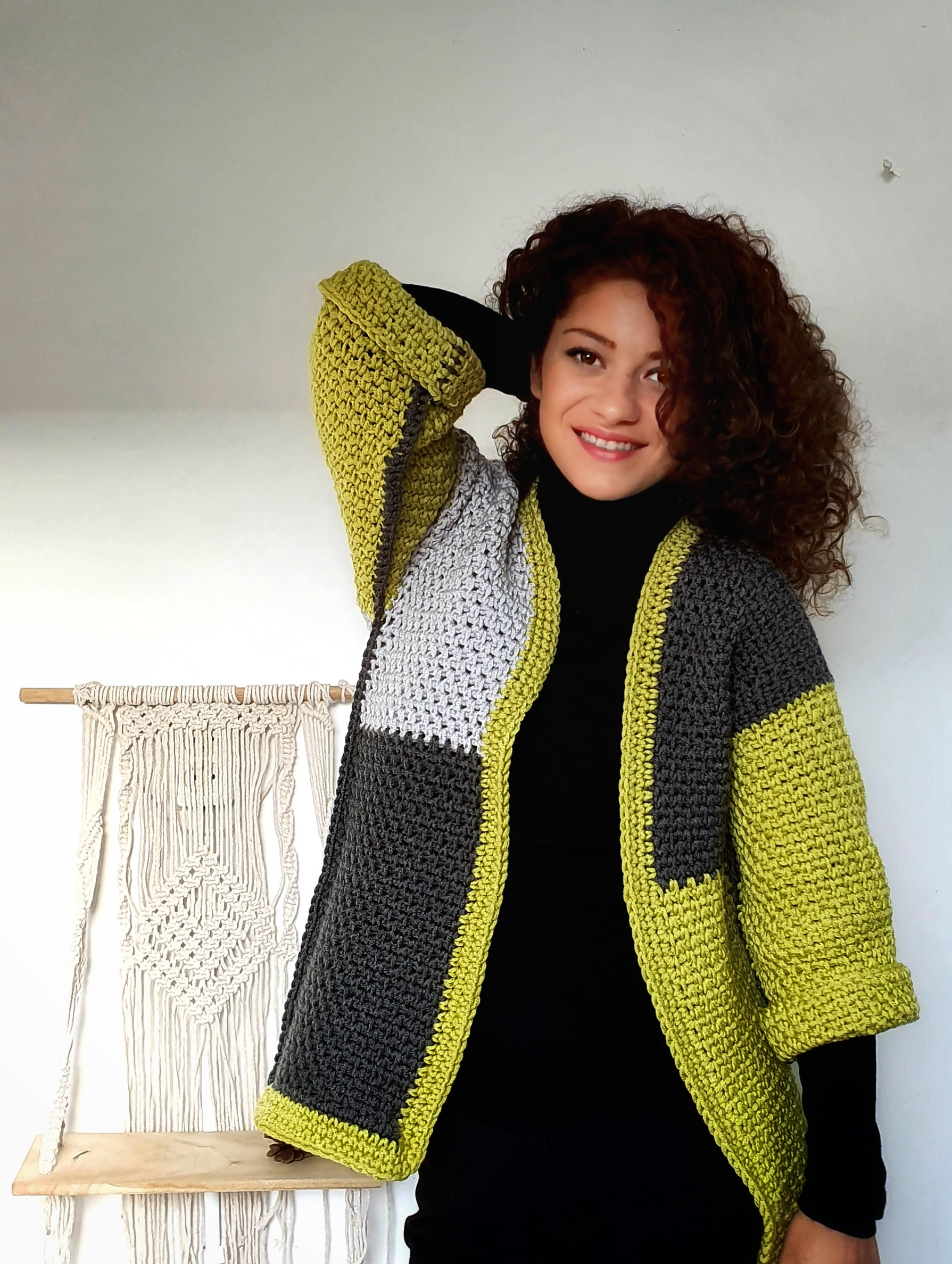 Pistachio Amid Rocks Jacket.Free Crochet Pattern and Video Tutorial
