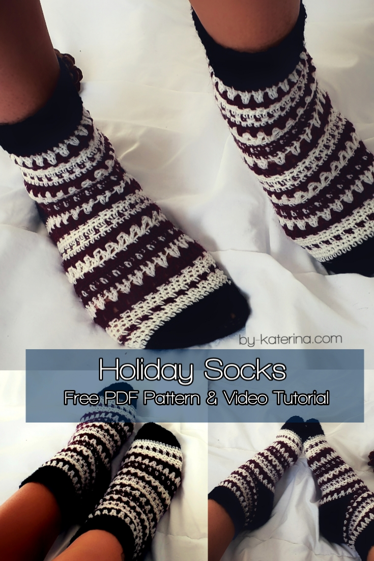 Holiday Socks. Free PDF Pattern & Video Tutorial