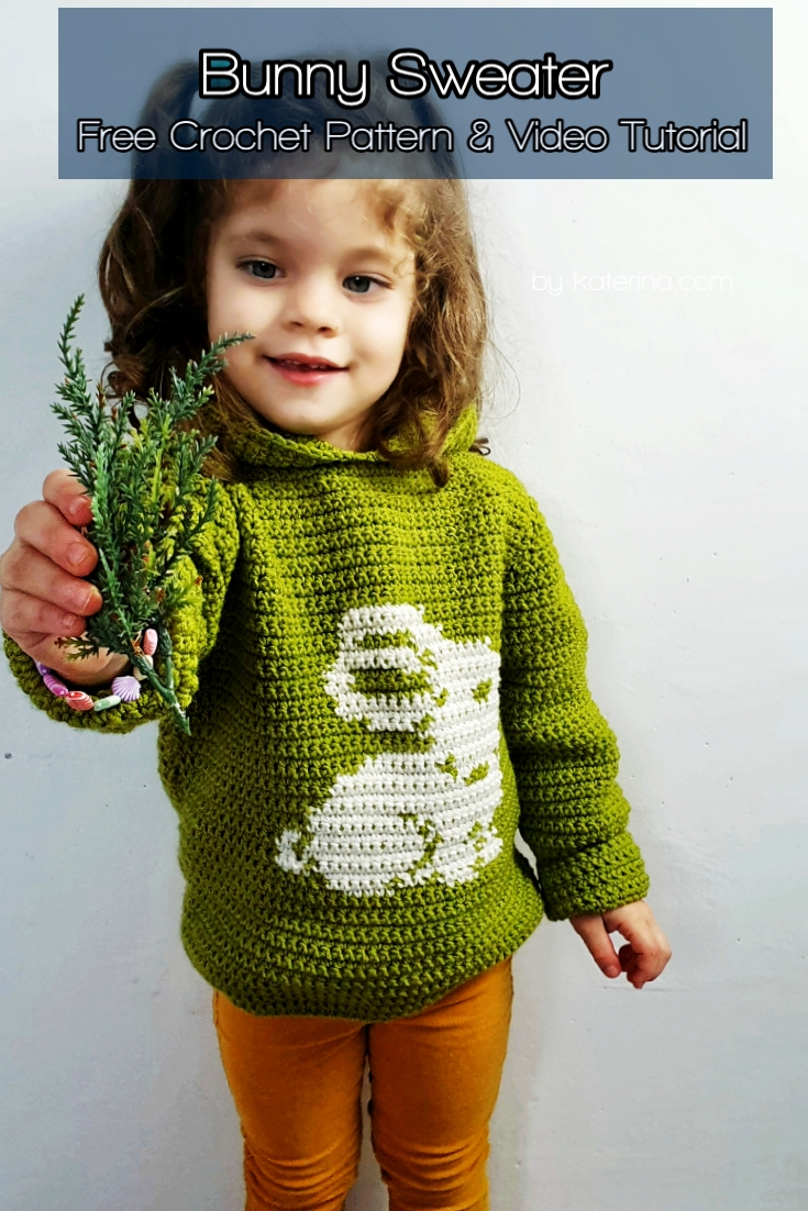 Bunny Sweater.Free Crochet Pattern & Video Tutorial
