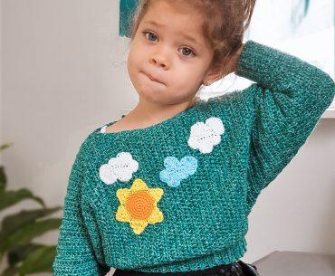 Happy Clouds Sweater. Crochet Pattern